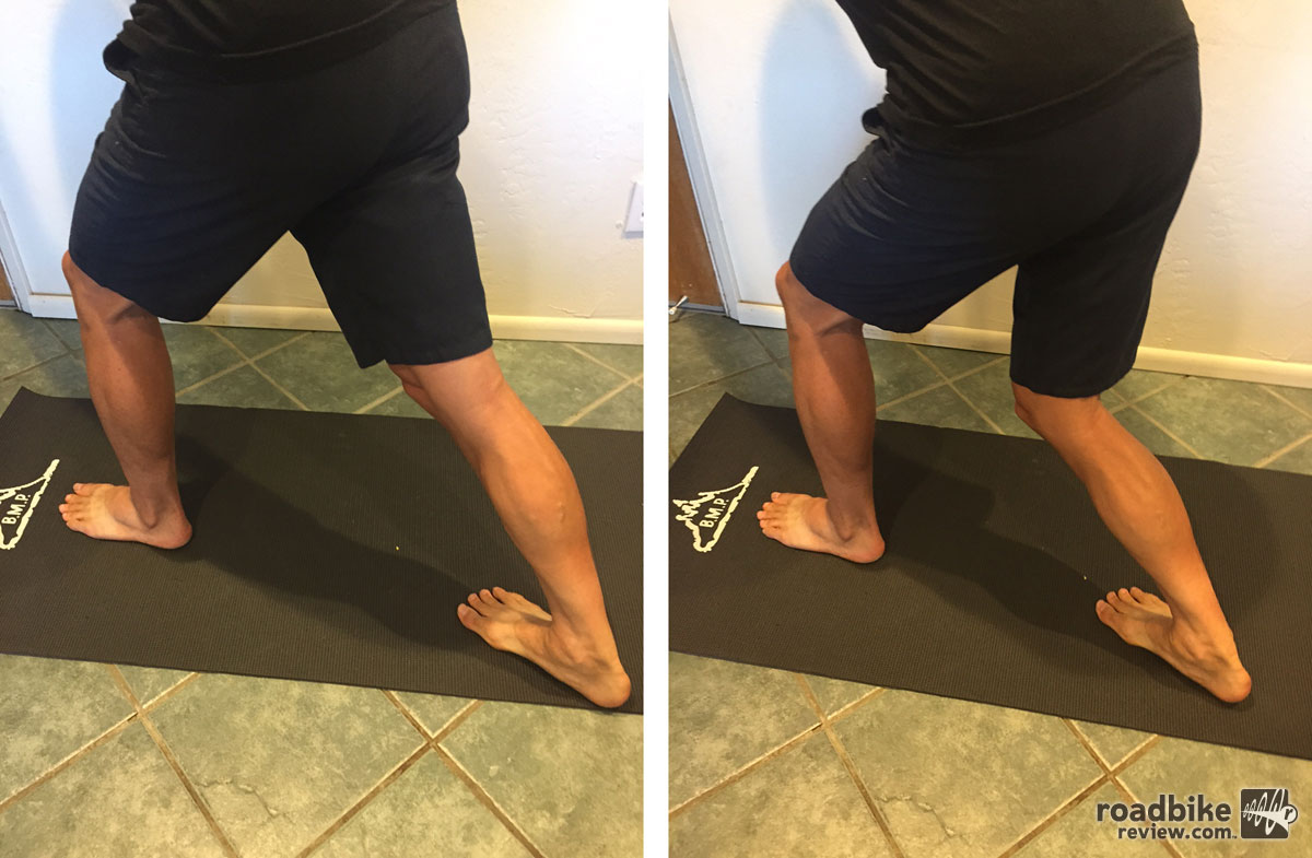 Calf stretch with a straight knee and then again with a bent knee.
