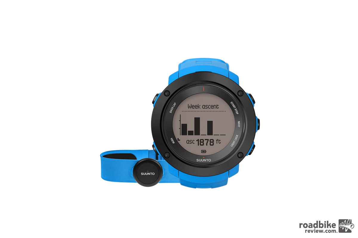Key features include real-time altitude profile directly on watch with current ascent gain and remaining ascent.