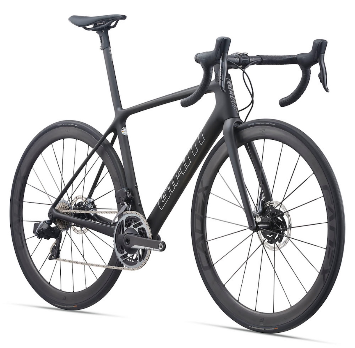 The 2021 TCR Advanced SL 0 Disc features a CADEX 42 Disc Tubeless WheelSystem and SRAM Red eTap AXS wireless electronic drivetrain.