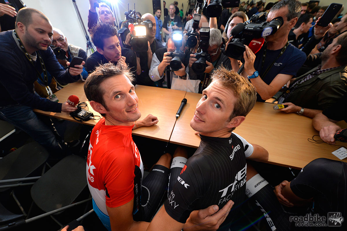 Andy Schleck (right) and brother Frank entertain the media on the lead-up to the 2014 Tour de France. Andy Schleck crashed on stage 3, dropped out the next day, and never raced again.