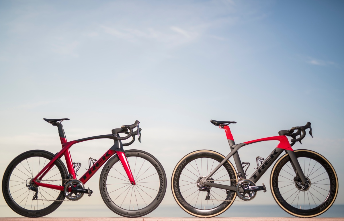 Trek's Madone race bike is now available in rim and disc brake versions.