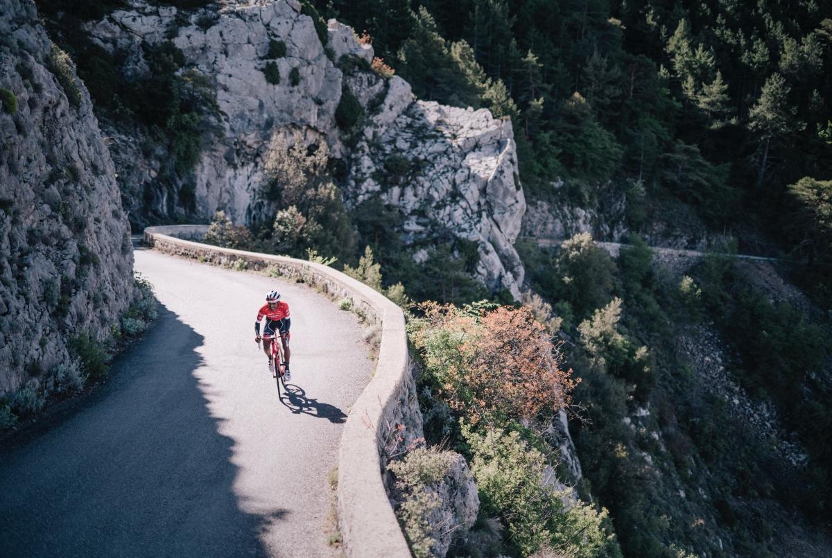 Tsgabu Grmay (ETH/Trek-Segafredo) training up the Col de la Madone.