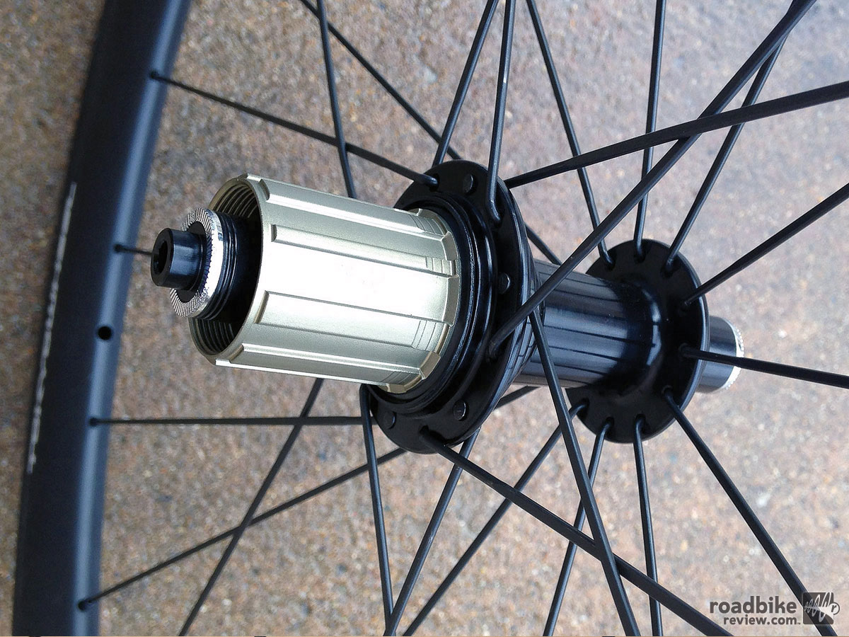 Our test wheels spun on house brand Vapor Ceramic hubs, which feature a 6-pawl freehub engagement and four sealed cartridge bearings in the rear hub and two in the front.