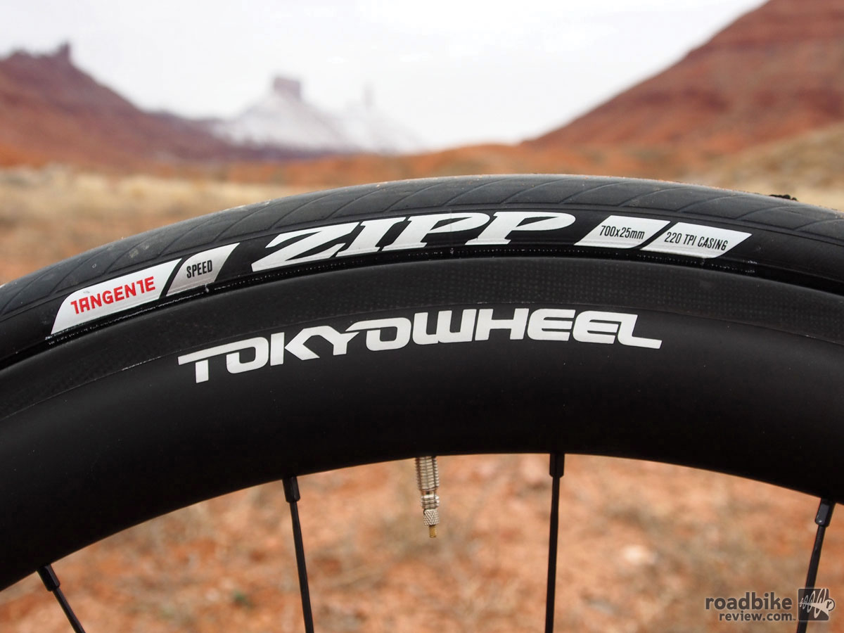 Rim depth was 38mm front, 50mm rear. We dressed them with a pair of supple 25mm Zipp Tangente tires.