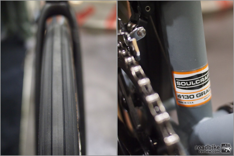 A shot to show the clearance left on a 47c tire. The Treehorn frame is made from 4130 steel.