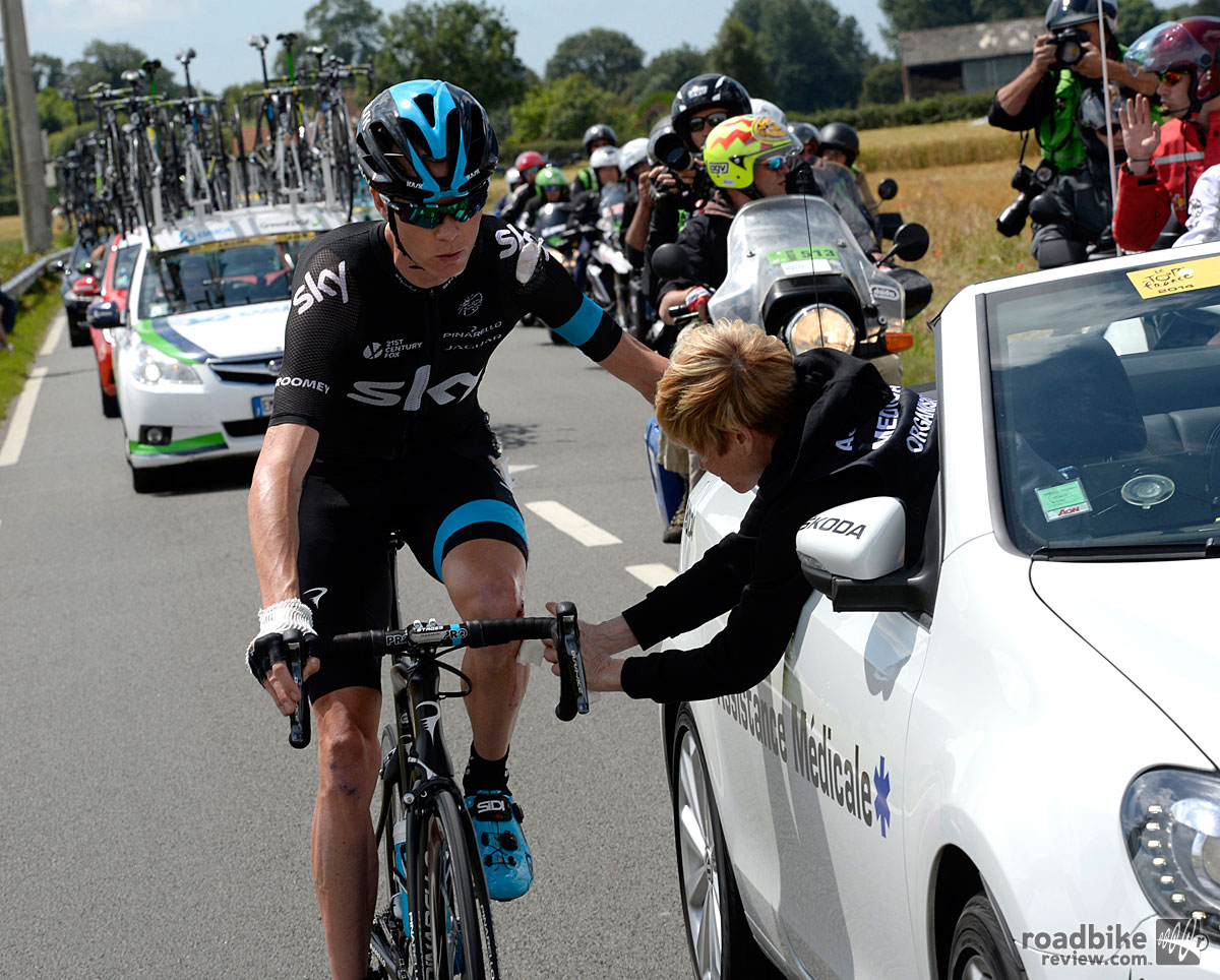 Chris Froome after a Crash