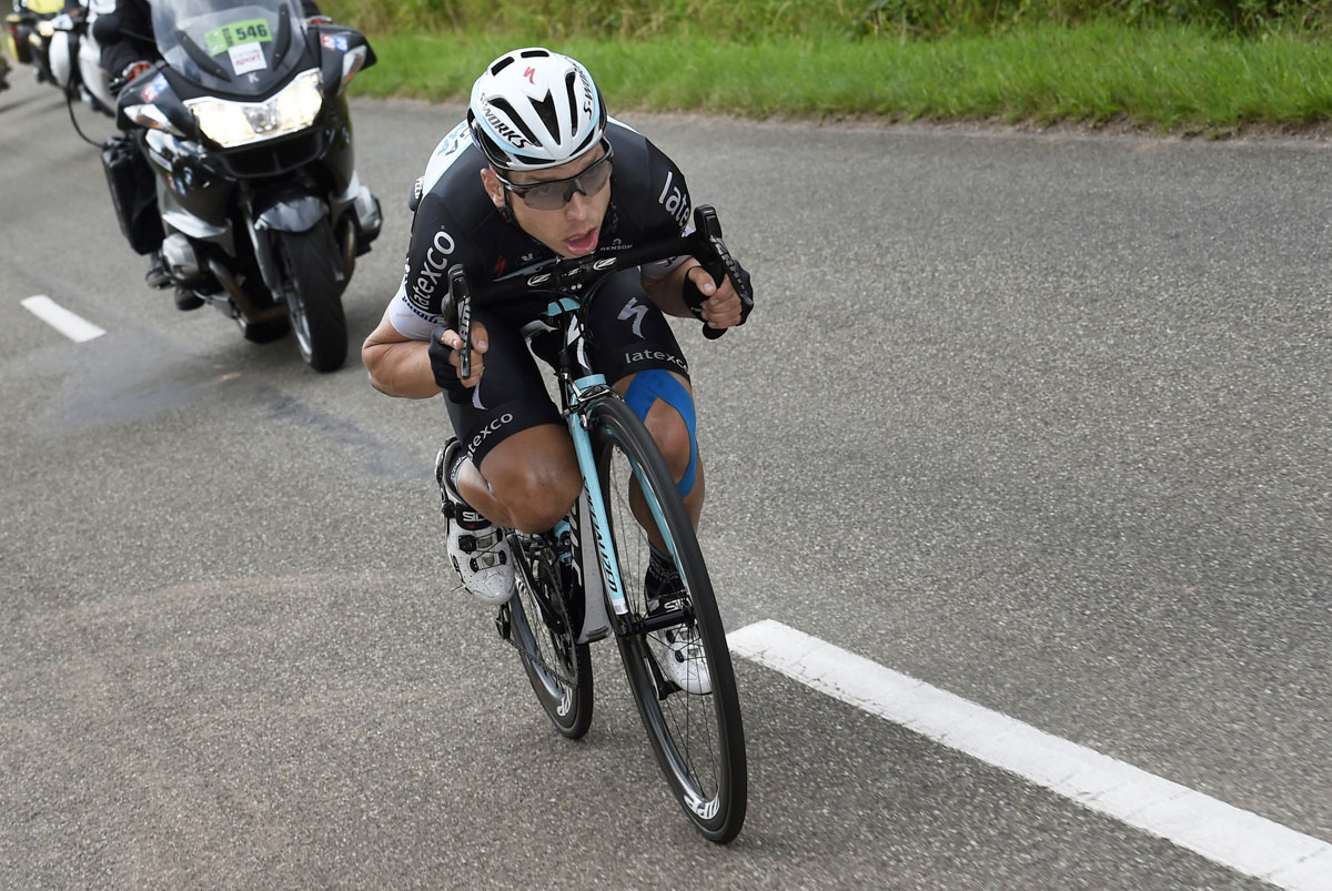 Tony Martin wasn't afraid to take a few risks during his mad dash to the finish. Photo by Graham Watson