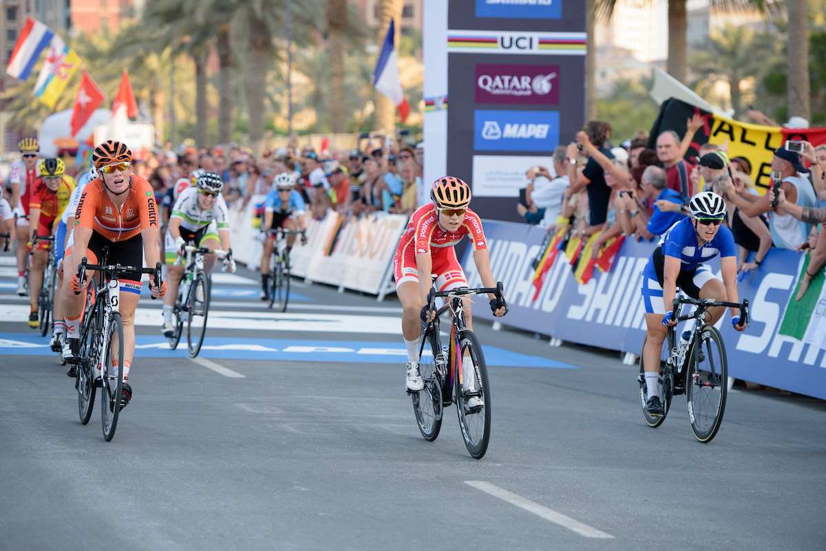 Amalie Dideriksen wins at the 134km elite women's road race. Photo courtesy Specialized