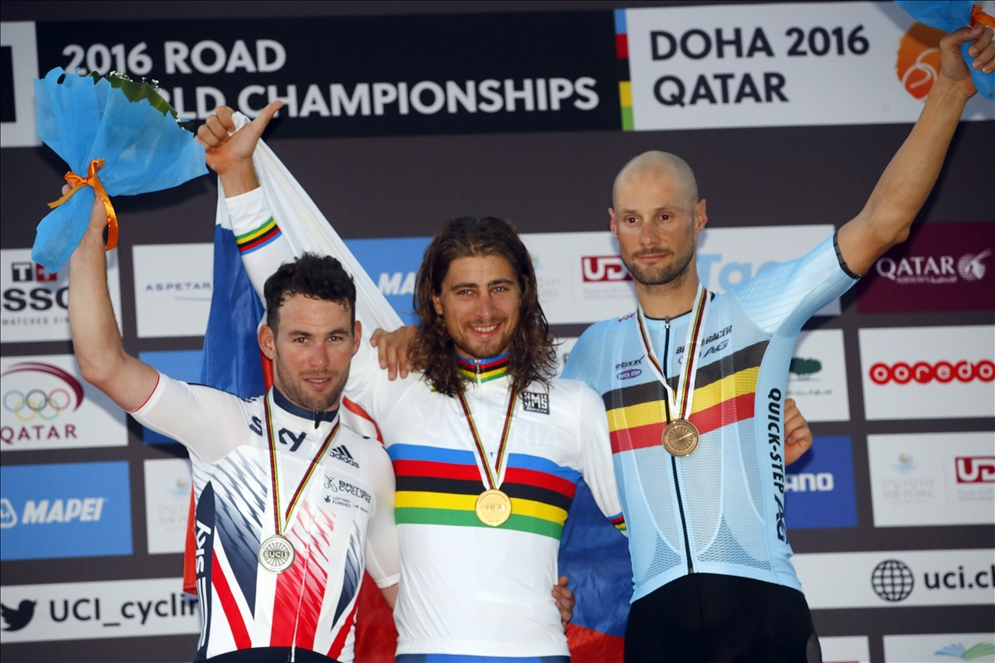 It was an all star men's road race podium with Mark Cavendish second, Peter Sagan first, and Tom Boonen in Third. Photo courtesy Specialized