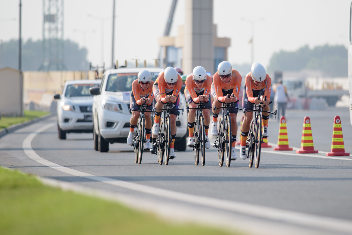 Boels Dolmans approach The Pearl on their way to victory in the 40km women's TTT in Doha. Photo courtesy Specialized