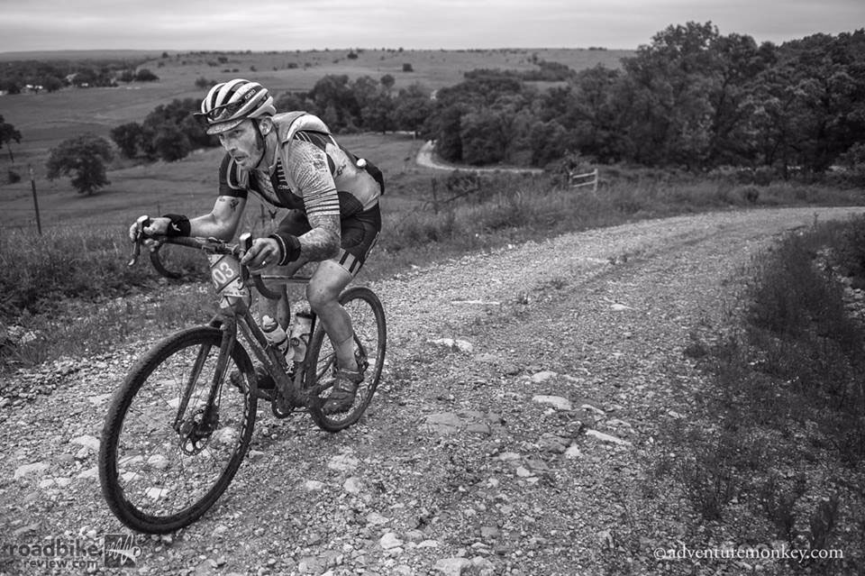 Yuri Hauswald, 2015 Dirty Kanza 200 winner, enduring the most brutal Kanza ever. Photo by Adventuremonkey.com