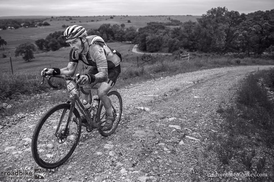 Yuri Hauswald attacks the numerous rolling climbs across 200 miles of Kansas terrain. Photo by Adventuremonkey.com